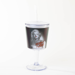 Marilyn Monroe Wine Goblet with Lid and Straw