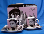 "Audrey Hepburn Manhattan Cafe "" Expresso Cup/Coaster/Spoon Set with Case"""