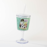 Audrey Hepburn Wine Goblet with lid and straw